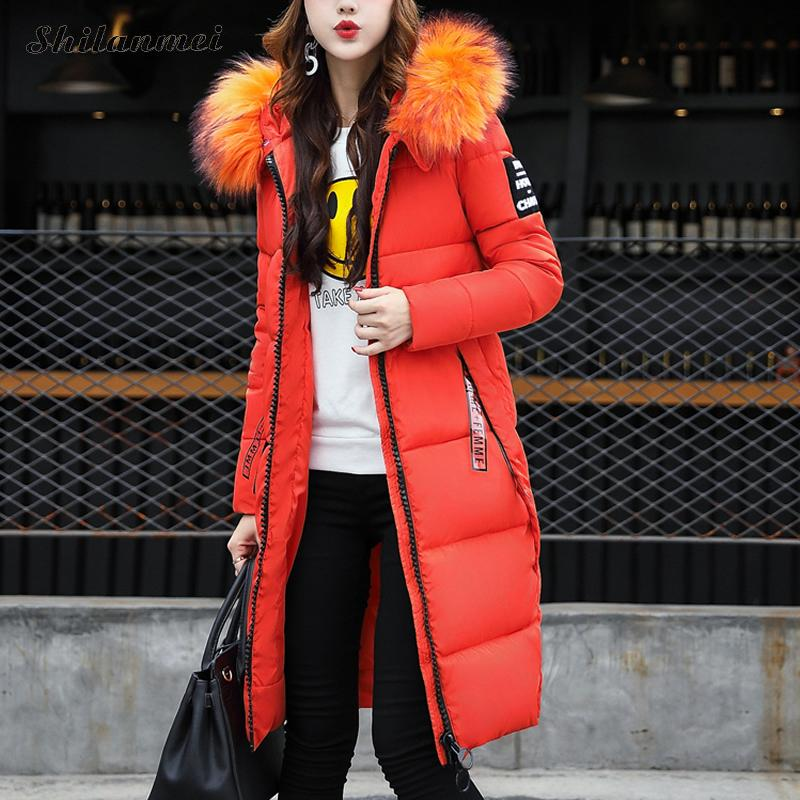 Snow Wear 2017 Winter Women Jacket Cotton Coat Fur Collar Hooded Parka Korean Plus Size 3XL X-Long Jacket Thick Femme Outwear snow wear 2017 high quality winter women jacket cotton coats fur collar hooded parkas fashion long thick femme outwear cm1346