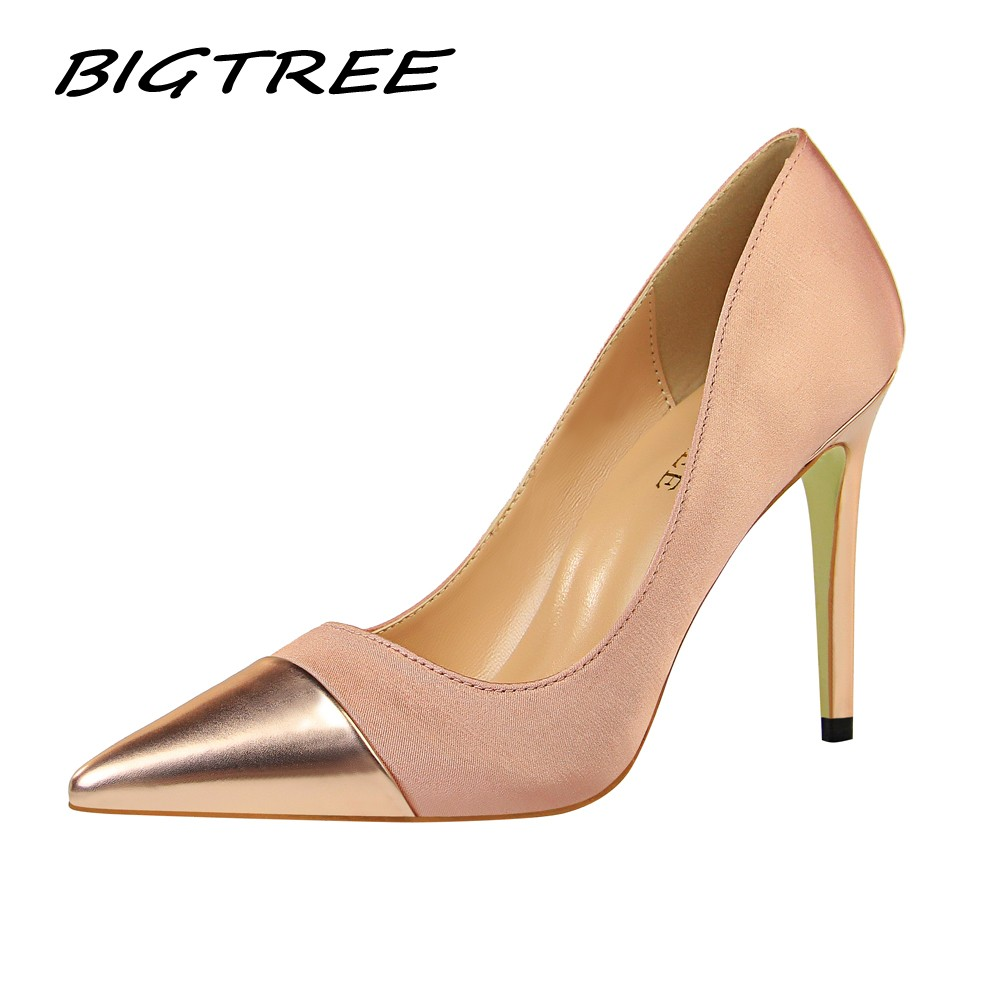 BIGTREE 2019 Spring Wedding Party Women High Heels Shoes Woman Pumps Fashion Patchwork Female Sexy Nightclub Stilettos Shoes