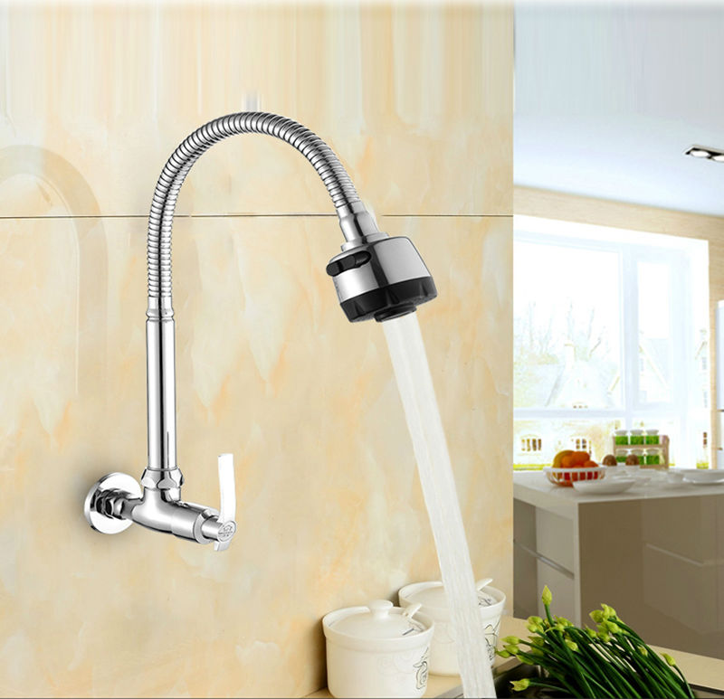 kitchen faucet only cold water wall mounted brass fold expansion ...