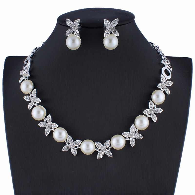 Necklace Earrings Simulated Pearl Jewelry Sets For Women Wedding Bridal Party Accessories Imitated Crystal Pendant Dropshipping