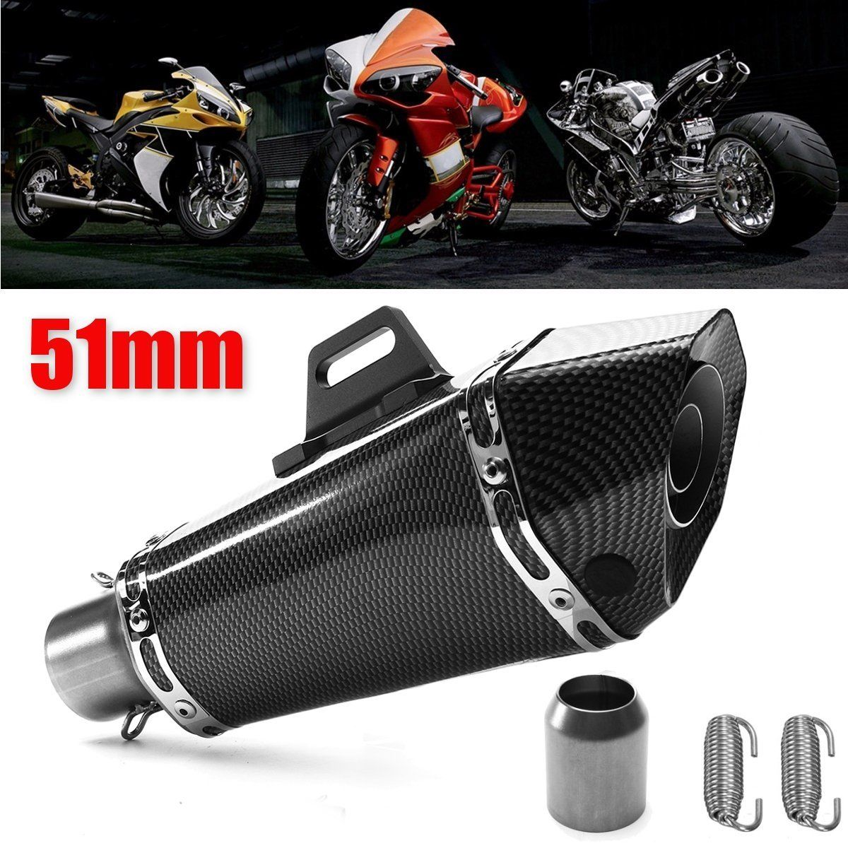 New 36-51mm Motorcycle Aluminum Exhaust Muffler Tip Pipe Carbon Fiber Style Muffler Pipe for Yamaha YZF R1 yandex w205 amg style carbon fiber rear spoiler for benz w205 c200 c250 c300 c350 4door 2015 2016 2017