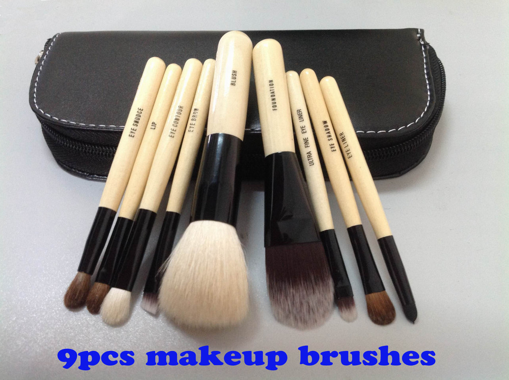 Wholesale New arrival HOT cosmetic 9pcs Makeup Brushes 9 Pieces Make Up Tools with Leather Pouch