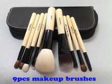 Wholesale New arrival HOT cosmetic 9pcs Makeup Brushes 9 Pieces Make Up Tools +with Leather Pouch, Drop Shipping
