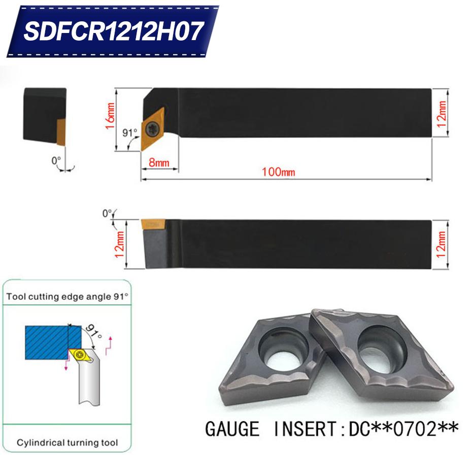 1pc DCMT070204 UE6020 12x100mm Lathe External Turning Tool Holder SDQCR1212H07