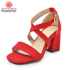 Fizaizifai Size 32-43 5 Colors Women High Heel Sandals Open Toe Buckle Thick Heel Women Summer Shoes Sexy Wedding Sandals