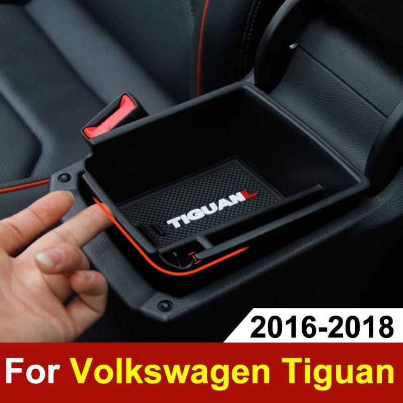 Auto Armlehne Zentrum Speicher Box Container Handschuh Organizer Halter Fall Für Volkswagen VW Tiguan mk2 2016 2017 2018 Zubehör