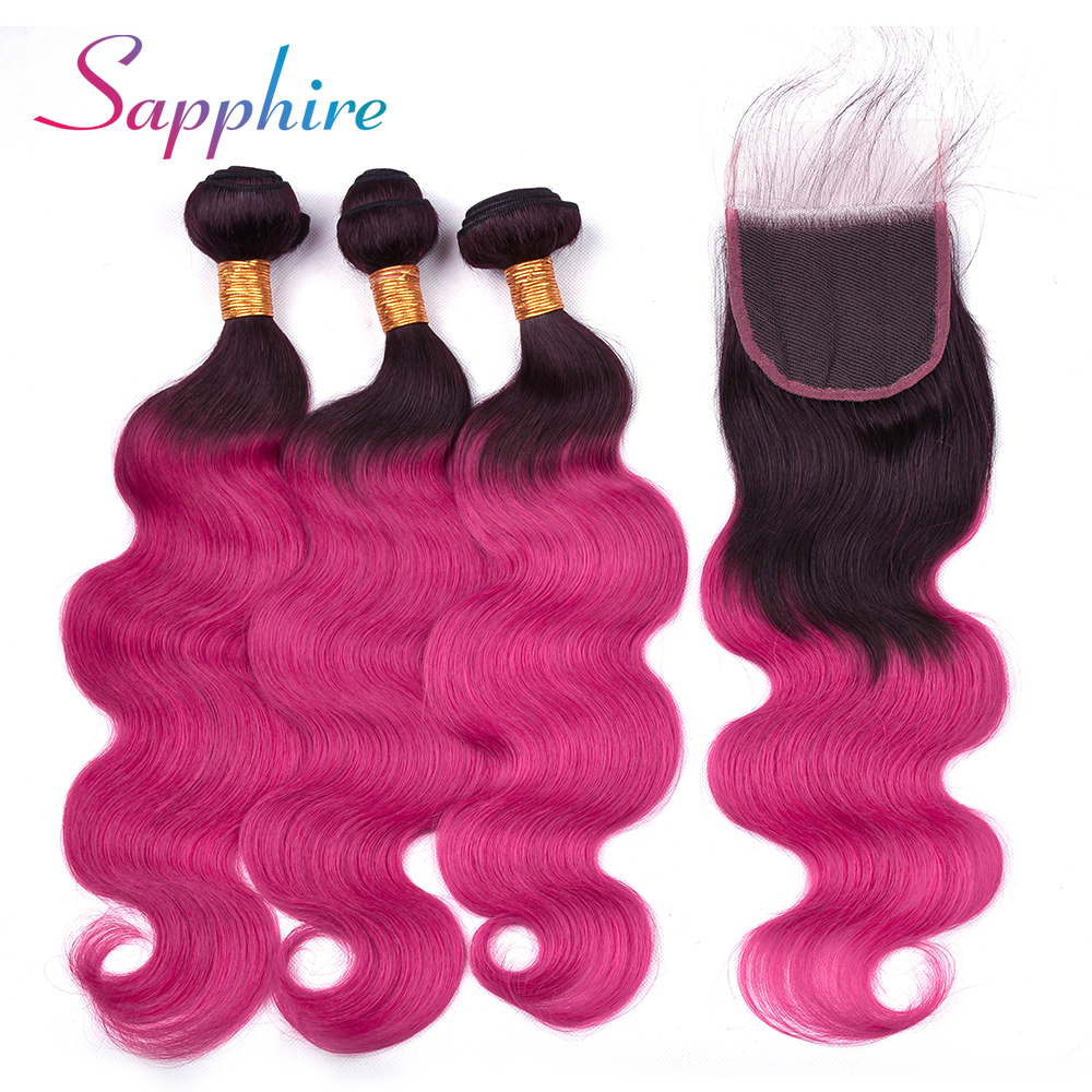 Sapphire Brazilian Body Wave Hair Weave 3 Bundles With 4*4 Lace Closure Ombre 100% Human Remy Hair Extension Shipping Free