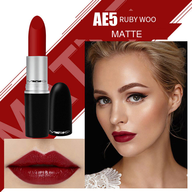 Top Quality MYG Matte Lipstick professional Lips Makeup Long-lasting Waterproof  Lipstick Red Nude ruby woo honey love Lipstick 4