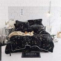 Роскошный мягкий Бархатный комплект постельного белья черные звезды пододеяльник наборы теплое зимнее постельное белье двойная кровать