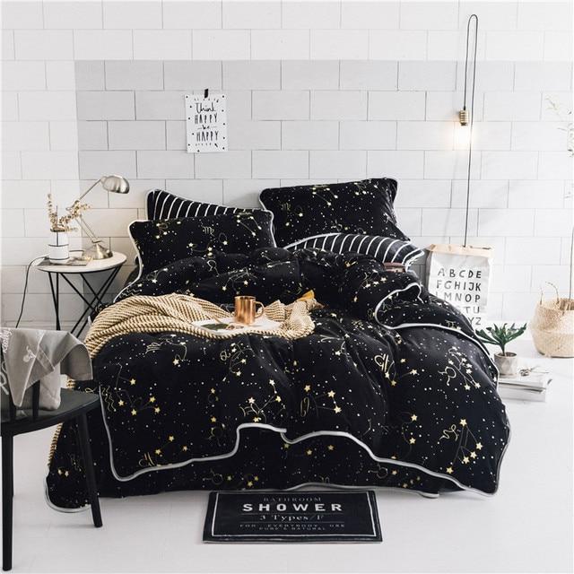 luxury soft velvet bedding set black stars duvet cover sets warm winter bed linen bedclothes double - Velvet Bedding