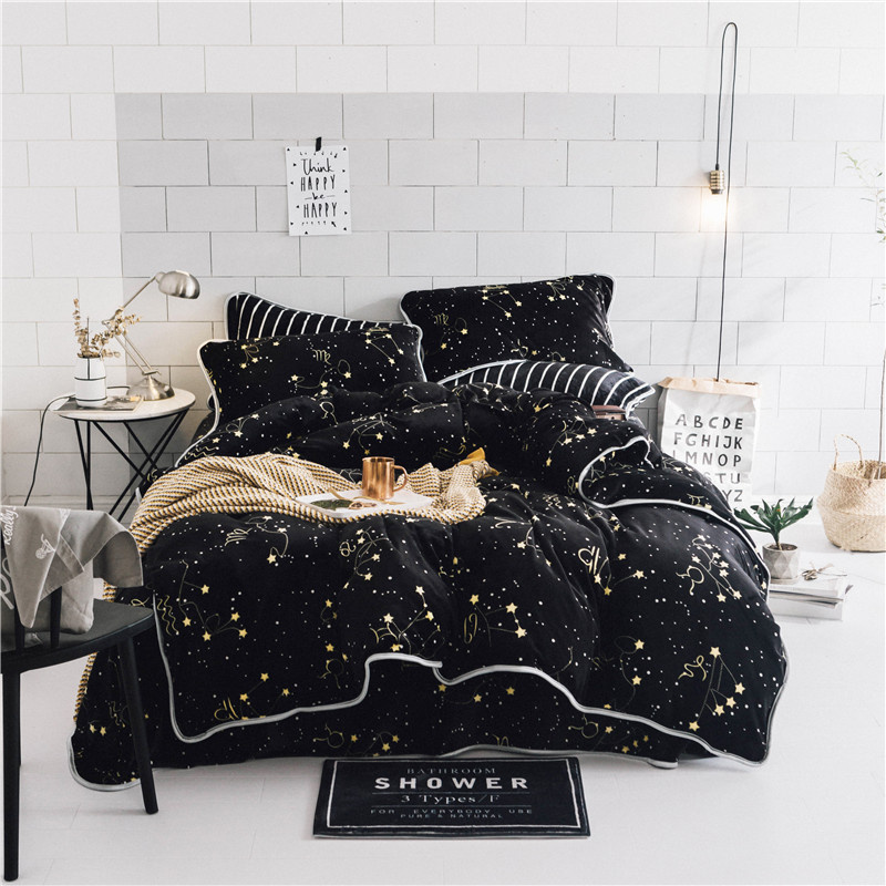 Luxury Soft velvet bedding set black stars duvet cover sets warm winter bed linen bedclothes double bed