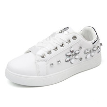 YeddaMavis Shoes Women Sneakers 2019 Spring Autumn New Fashion White Casual Shoes Rhinestone Shoes Women's PU Flats Woman Shoes цена и фото