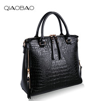 QIAOBAO Crocodile Leather Bag Fashion Leather Designer Bag Capacity Lady Bags New Embossed Real Leather Cross