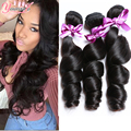 Peruvian Virgin hair bundles 4Pcs 7A Unprocessed Human Hair Weaves Peruvian Loose Wave Natural Black Rosa Hair Products Soft End