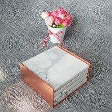 Подставка для кофейной чашки набор мраморный белый черный серый подстаканник с металлическим держателем Настольный коврик аксессуары для стола современное искусство домашний ужин вечерние