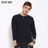 2017 JESSIE VAN 2017 Brand New Arrival Embroidered Coat Of Arms Long Sleeved T Shirt Men