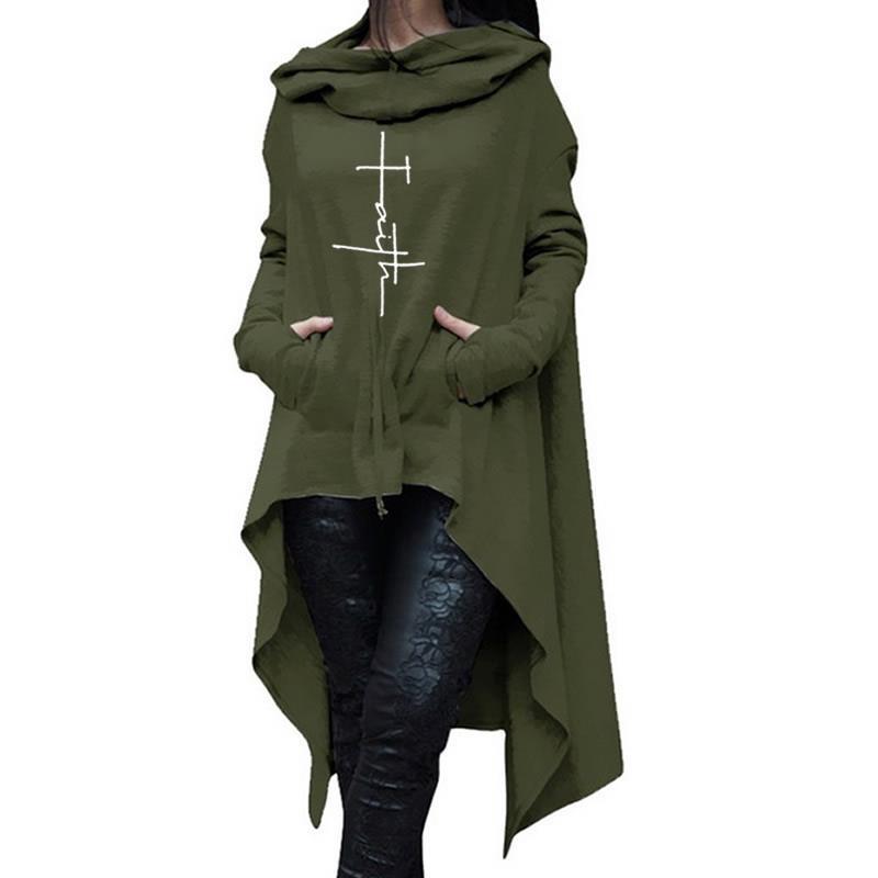 Nueva moda 2018 sudaderas con capucha con estampado de fe para mujer, mujeres, mujeres, chicas, tallas grandes, jerseys de manga larga para mujer