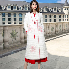 Chinese style embroidery v-neck loose X-long thin white duck down coats 2018 new full sleeve women winter