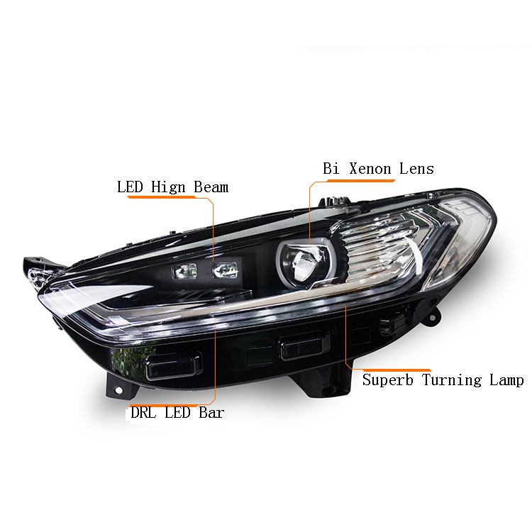 Ownsun New Eagle Eyes LED DRL Bi-xenon Projector Lens Headlights For Ford Mondeo 2013 ownsun new style tear drop led projector lens headlight for new ford focus 2012 2013