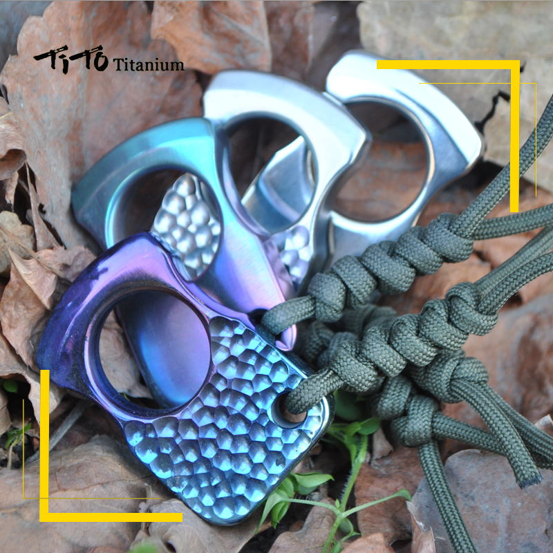 TiTo EDC Titanium Alloy Multipurpose Single Holes Tools Meteorite Keychain Outdoors Ring Tools