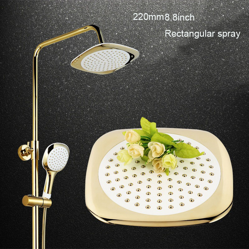 Luxury Golden Waterfall Shower Sets Wall mounted golden Polished White Painting Bath & Shower Faucet with hand shower sognare new wall mounted bathroom bath shower faucet with handheld shower head chrome finish shower faucet set mixer tap d5205