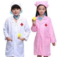 어린이 코스프레 의상 화이트 의사 유니폼 간호사 코트 병원