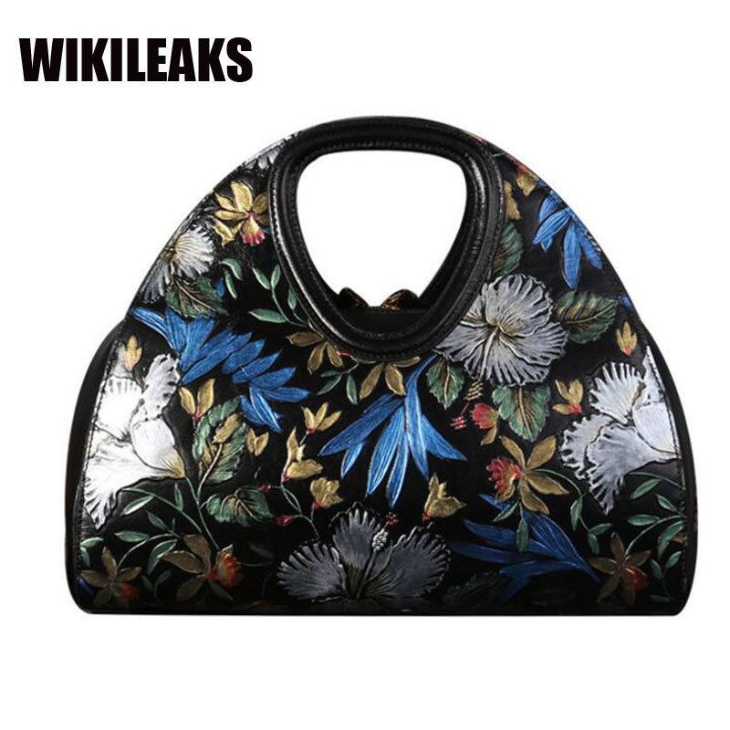 Brand Design Women's Handbags Shoulder Retro Genuine Cow Leather 2017 New Arrival Women Cowhide Floral Totes Hobos Black Bags