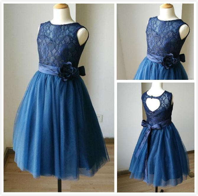 Navy Blue Lace Tulle Sweetheart Tulle Keyhole Flower Girl Dress Kids Children Junior Bridesmaid Dress Mother Daughter Dresses winter long new knee length women jacket longthen slim was thin coat big fur collar plus size thick parkas warm outwear mz847