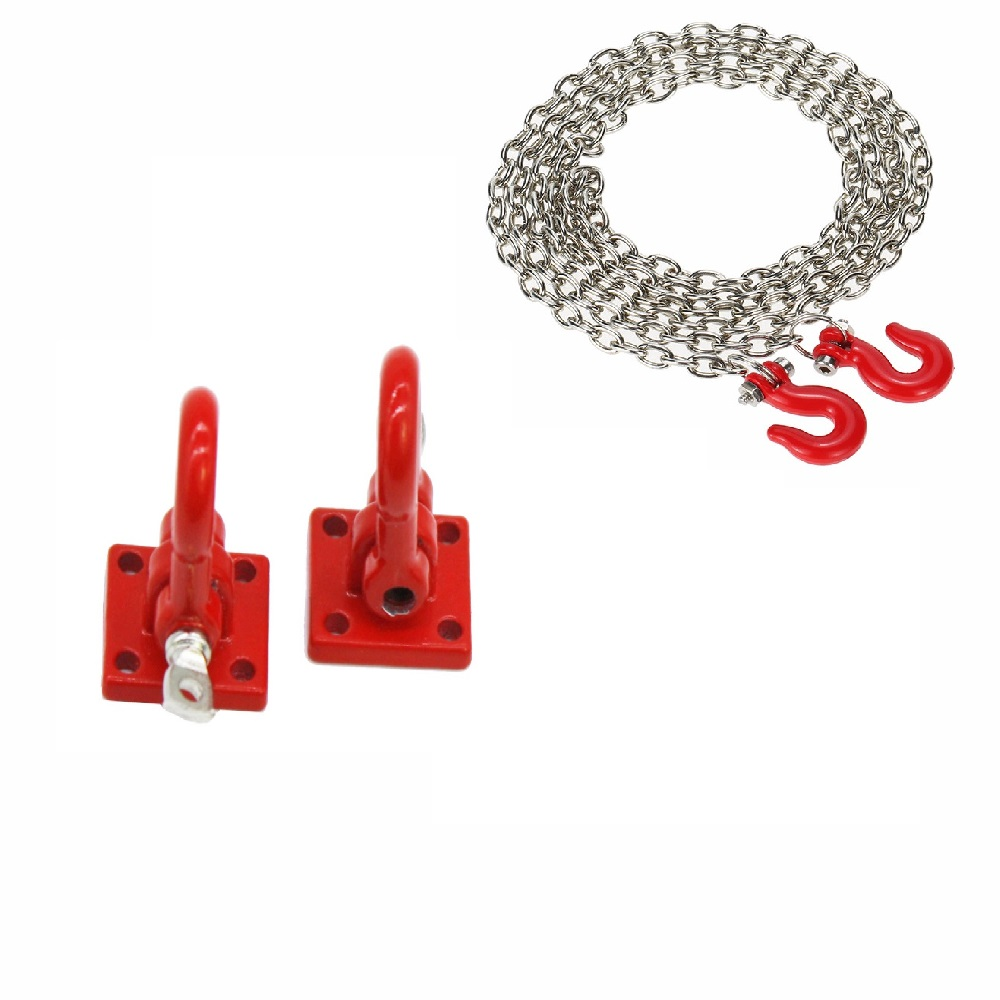 1/10 RC Crawler Accessories Tow Hooks and <font><b>Trailer</b></font> Chain Kit for Axial SCX10 <font><b>Tamiya</b></font> CC01 D90 D110 TF2 RC Trucks Car <font><b>Parts</b></font> image