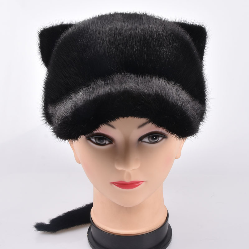 Women Winter Mink Fur Hat 2017 New Fashion Natural Whole Skin Mink Fur Cap Female Solid Casual Visors With Tail Fur Caps foreign trade explosion models in europe and america in winter knit hat fashion warm mink mink hat lady ear cap dhy 36