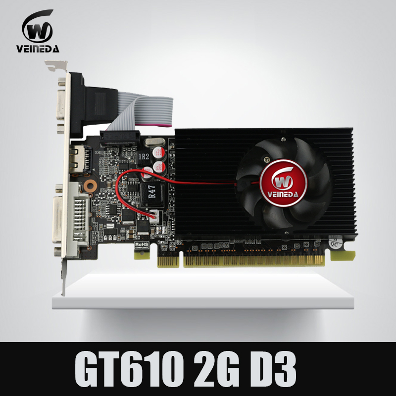 Veineda display vga cards GT610 2GB DDR3 810/1200MHz for nVIDIA Geforce Game PC yeston geforce gt 1030 gpu 2gb gddr5 64 bit gaming desktop computer pc video graphics cards support