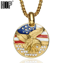 HIP Hop American Flag Eagle Hawk Necklace Bling Ice Out Gold Color Stainless Steel Round Pendants Necklaces for Men Jewelry(China)