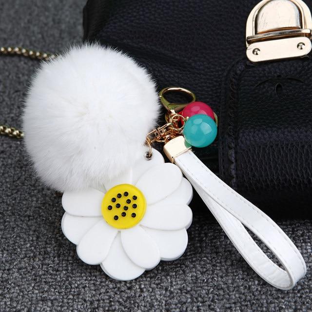 White Fur Ball Flowers Bag Picked Up 85aa8 Aeaf0