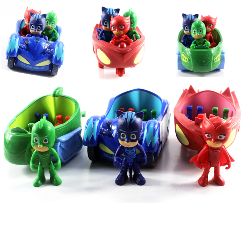 1PCS 3.5inch Doll With 3 Seats Car Pj Characters Catboy Gekko Cloak Action Figure freddy Toys Boy Gift Pj Mask Cartoon Model pj cartoon pj masks command center car parking toy lot car characters catboy owlette gekko masked figure toys kids party gift