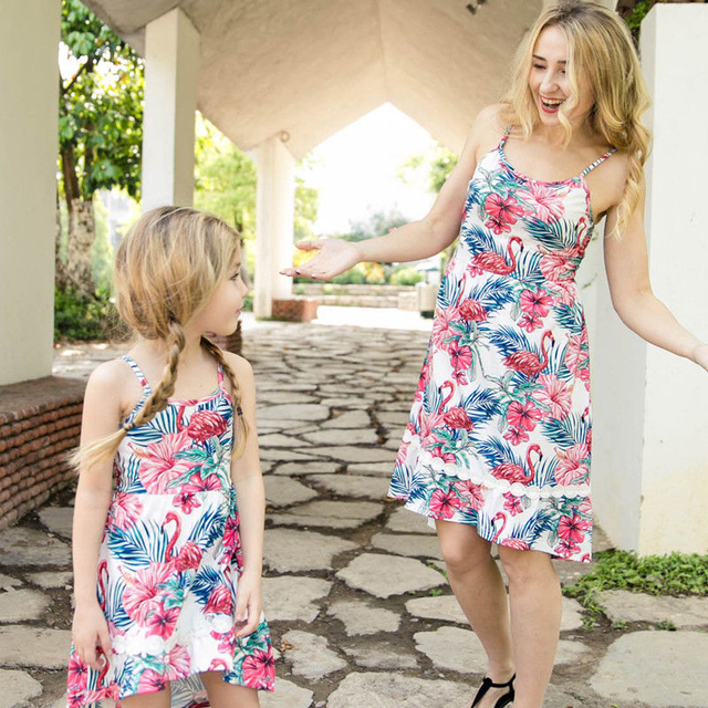 ec2dba56817f Family Clothes Lady Mother Daughter Matching Summer Girl Flamingos Dress  Outfit print Cartoon dress