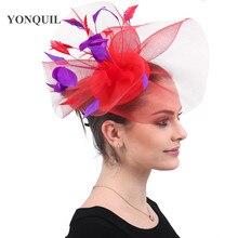 2ef014f474ecd Fashion New red wedding fascinators har hats purple feathers headwear women  elegant ladies party kenducky derby