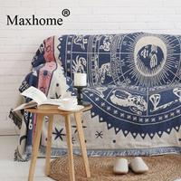 American Rustic Constellation Pattern 100% Cotton Casual Sofa Piano Bed Cover Sofa Throw Blanket Cloth Decoration Tapestry