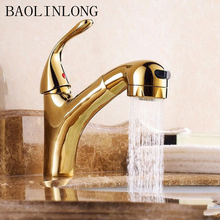 Brass Bathroom Faucet Basin Deck Mount Vanity Vessel Sinks Mixer Tap Pull Out Faucets
