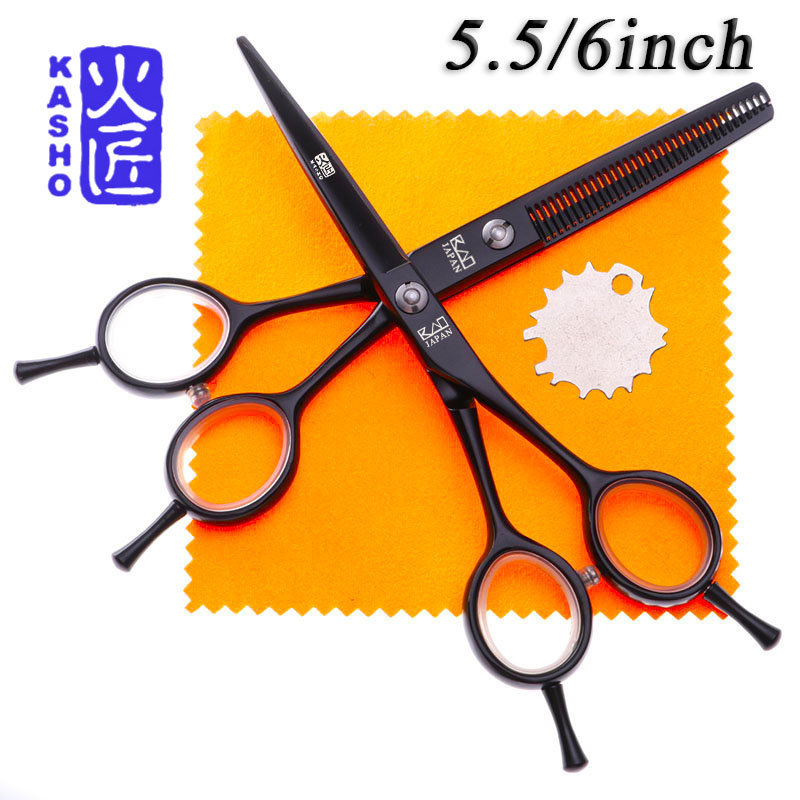 KASHO 5.5/6 Hair Scissors Professional Hairdressing Scissors Set Cutting+Thinning Salon Barber Shears Silver and Black hx38 60 6 stainless steel barber shears salon hair cutting scissors silver 7cm blade