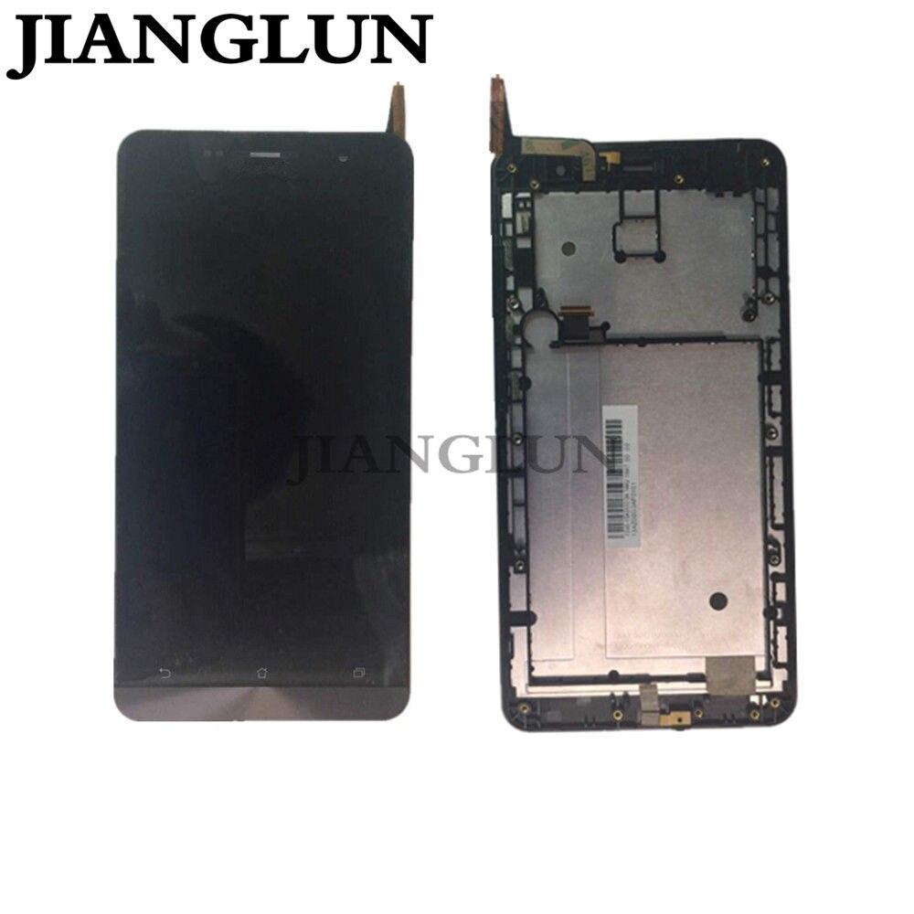 JIANGLUN LCD Écran Tactile Digitizer Pour Asus Zenfone 6 T00G Z002 A600CG A601CG + cadre
