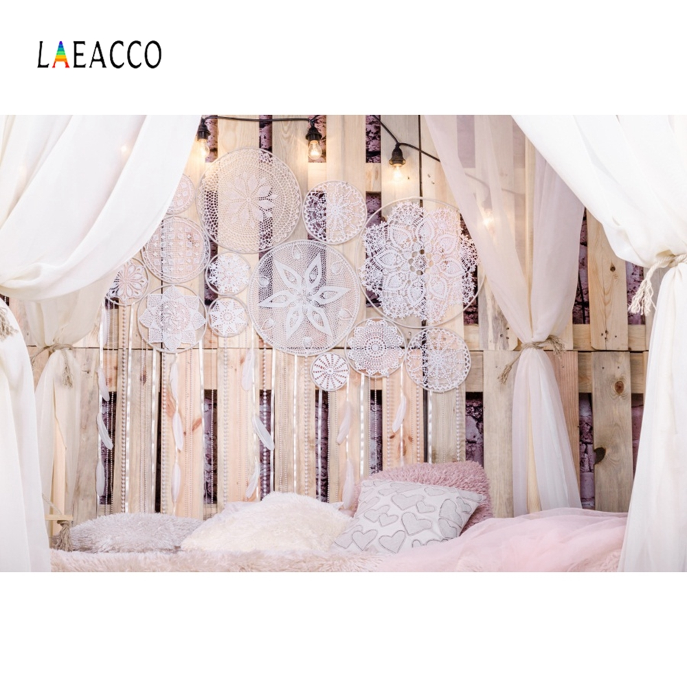 Laeacco Boudoir Bed Wooden Board Pillow Curtain Pendant Photography Background Customized Photographic Backdrop For Photo StudioLaeacco Boudoir Bed Wooden Board Pillow Curtain Pendant Photography Background Customized Photographic Backdrop For Photo Studio