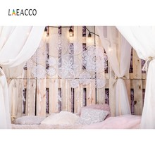 Laeacco Boudoir Bed Wooden Board Pillow Curtain Pendant Photography Background Customized Photographic Backdrop For Photo Studio(China)