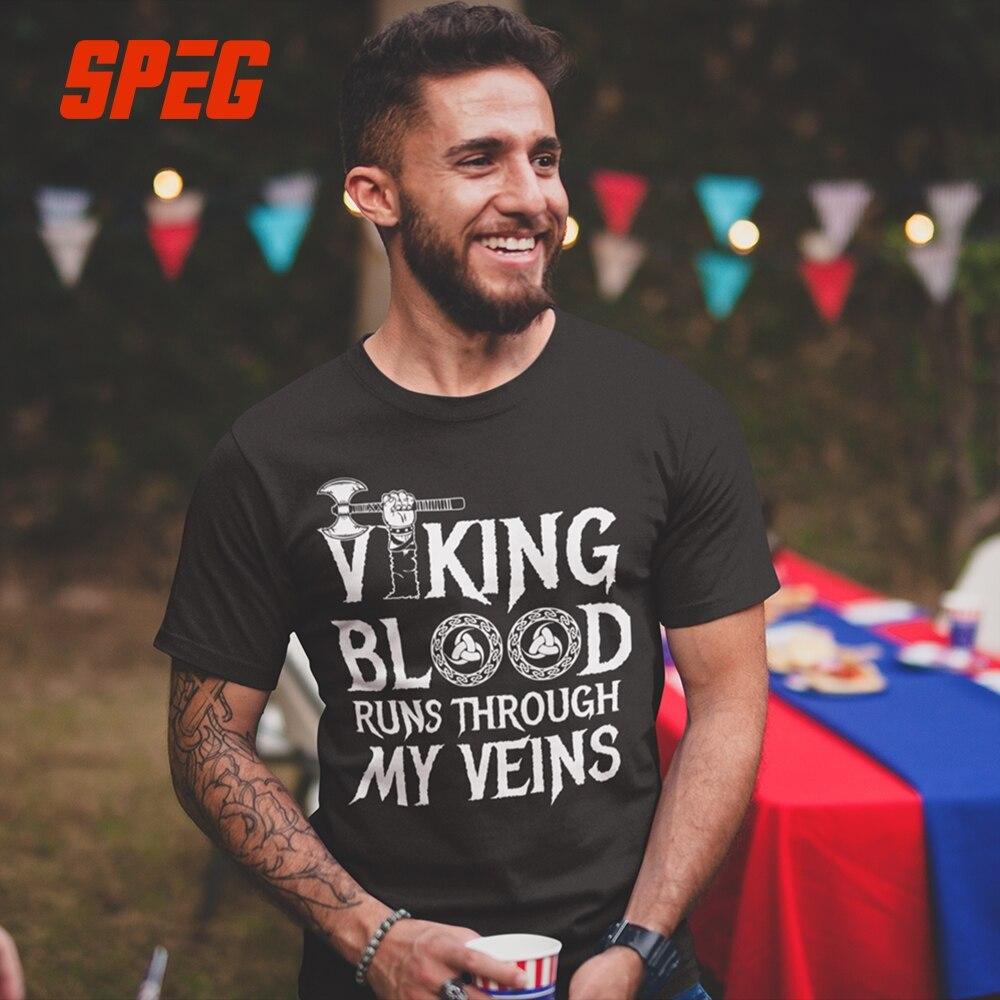 T Shirts Vikings Blut Läuft in Meinem Viens Tops Jugend Natürliche Baumwolle Männlichen Kurzarm T-Shirts Große Männer T Shirt designer