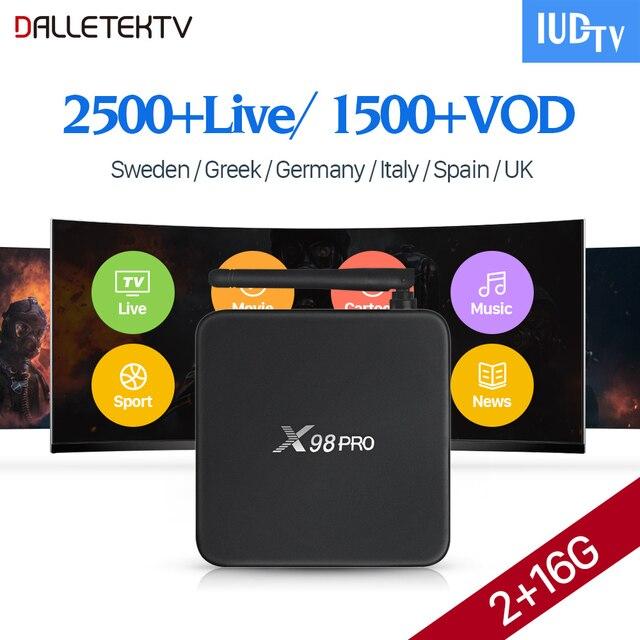 Assinatura 2500 Canais de IPTV Europa 1 Ano Código IUDTV X98 PRO  Inteligente Android 6 0 TV Box Suécia Itália Espanha UK Caixa