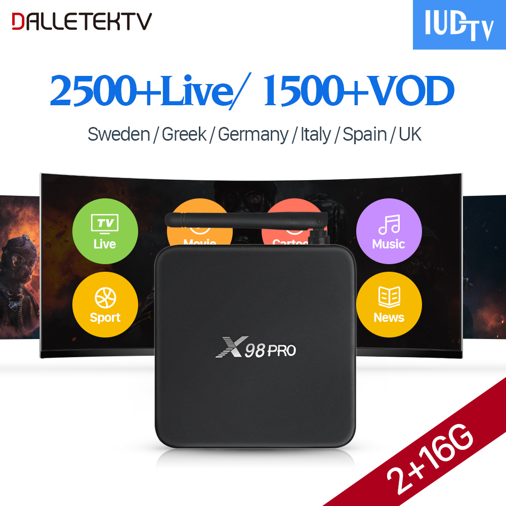 IPTV Europe Subscription 2500 Channels 1 Year IUDTV Code X98 PRO Smart Android 6.0 TV Box IPTV Sweden Italy Spain UK IPTV Box italy iptv a95x pro voice control with 1 year box 2g 16g italy iptv epg 4000 live vod configured europe albania ex yu xxx