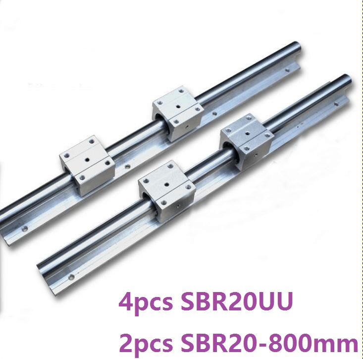 2pcs SBR20 20mm -L 800mm support rail linear guide + 4pcs SBR20UU linear blocks for CNC router parts linear rail