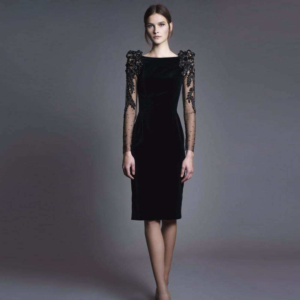 Velvet Formal Dress Straight Robe De Soiree Vestido de noite Vestido De Festa Short Partt Gowns