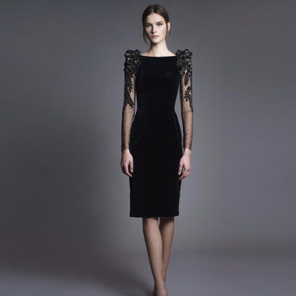 Aksamitne formalne sukienka prosto szata De Soiree Vestido de noite Vestido De Festa krótki Partt suknie suknie pełny rękawem Abendkleider w Suknie od Odzież damska na AliExpress - 11.11_Double 11Singles' Day 1