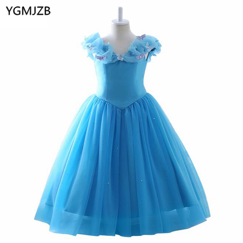 Sky Blue 2018   Flower     Girl     Dresses   for Wedding Sleeveless Organza   Girls   Pageant   Dresses   Party Evening Gowns Kids Prom   Dresses