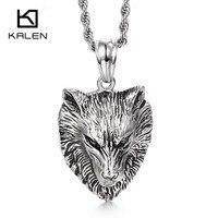 Kalén Rock Wolf Head Pendant Vòng Cổ Cho Nam Giới Thép Không Gỉ Animal Roaring Wolf Mặt Dây Chuyền Dây Chuyền Homme Punk Quà Tặng Đồ Trang Sức